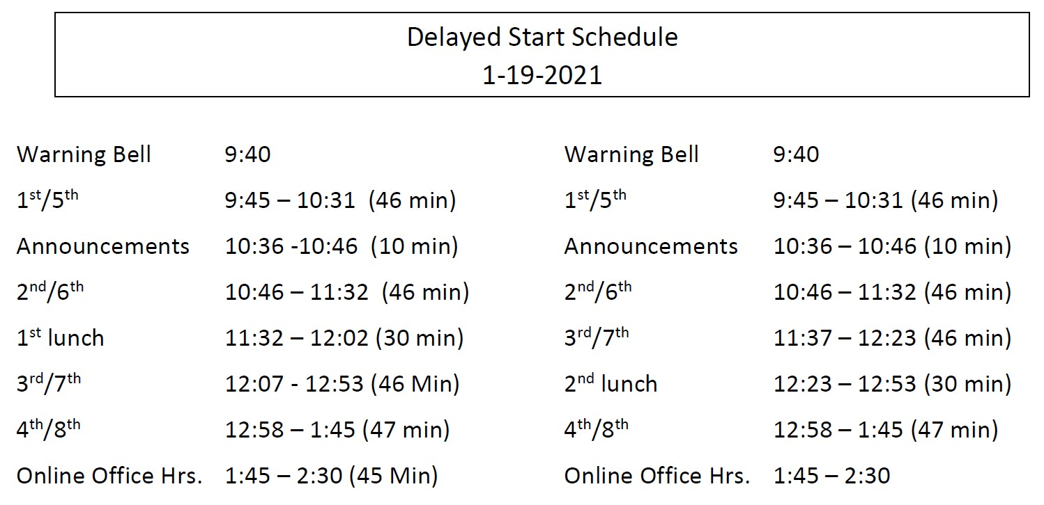 delayed start bell schedule